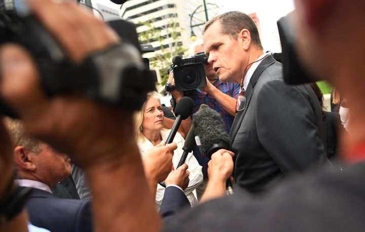 Taylor Swift's lead attorney, Douglas Baldridge, speaks to media Friday outside the Denver courthouse.