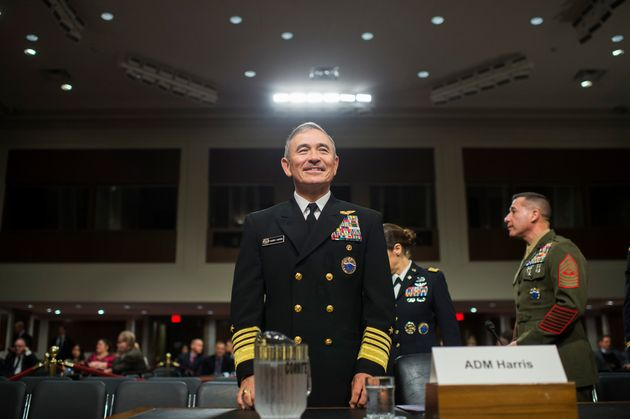 Adm. Harry Harris Jr., commander of the U.S. Pacific Command, arrives to testify at a Senate Armed Services...