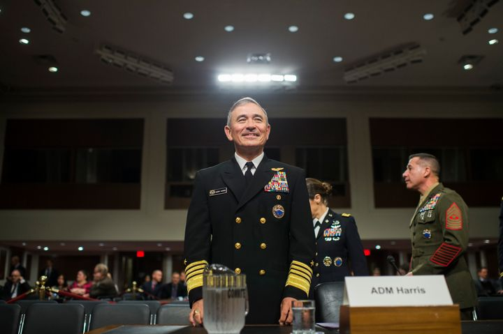 Adm. Harry Harris Jr., commander of the U.S. Pacific Command, arrives to testify at a Senate Armed Services Committee hearing