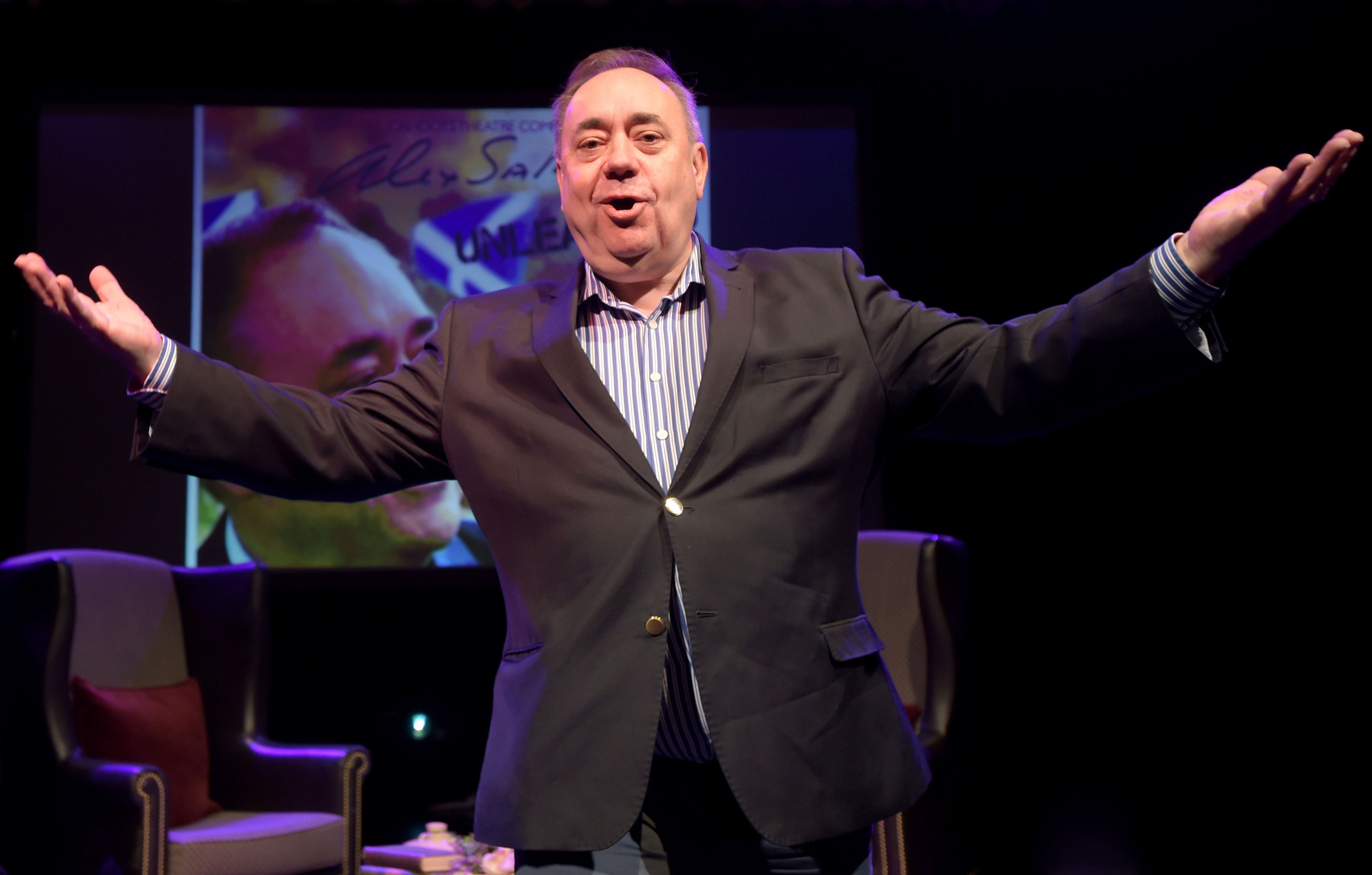 Former First Minister Alex Salmond during a photocall on stage at the Assembly Rooms in Edinburgh ahead...