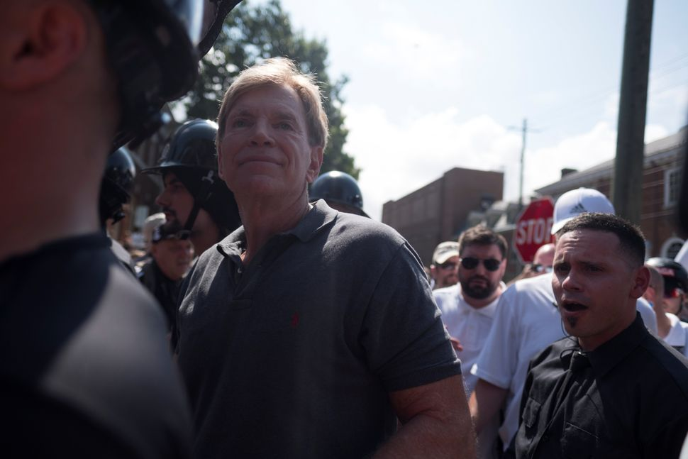 David Duke (C), participates in the white nationalist rally.