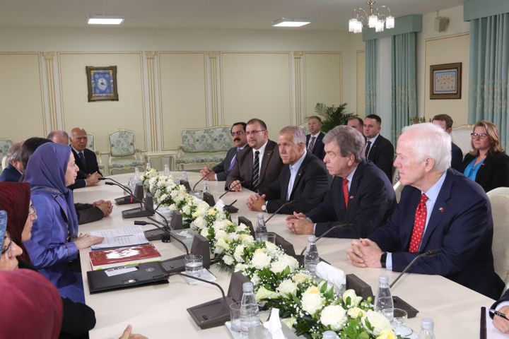 <p>Tirana, Albania, August 12, 2017 - Mrs. Maryam Rajavi (left), the President-elect of the National Council of Resistance of Iran meeting a senior delegation from the United States Senate. The two sides discussed the situation of members of the Mujahedin-e Khalq in Albania and the recent developments in Iran and the Middle East.</p>