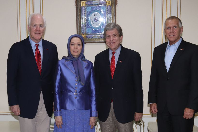 NCRI Tirana, Albania, August 12, 2017 - Mrs. Maryam Rajavi (center), the President-elect of the National Council of Resistance of Iran meeting a senior delegation from the United States Senate. From right: Senators Thom Tillis (R-NC), Roy Blunt (R-MO), and John Cornyn (R-TX). The NCRI is a political coalition calling for regime change in Iran and considered the main threat to Tehran's mullahs. The MEK is the main member of this coalition of a variety of Iranian dissident groups and individuals.