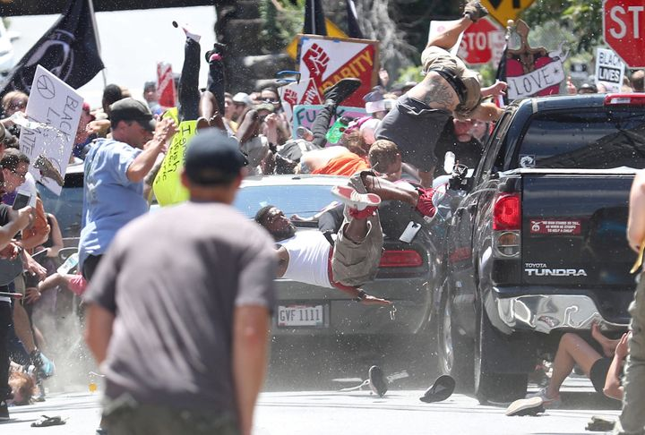 Anti-racist protesters were mowed down by a speeding vehicle during the white-supremacist gathering in Charlottesville on Sat