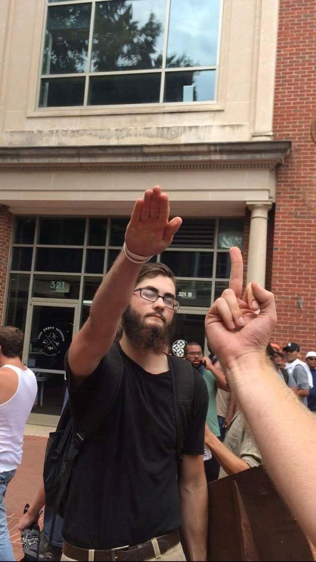 A white supremacist protester gives a Nazi salute at the 'Unite The Right'