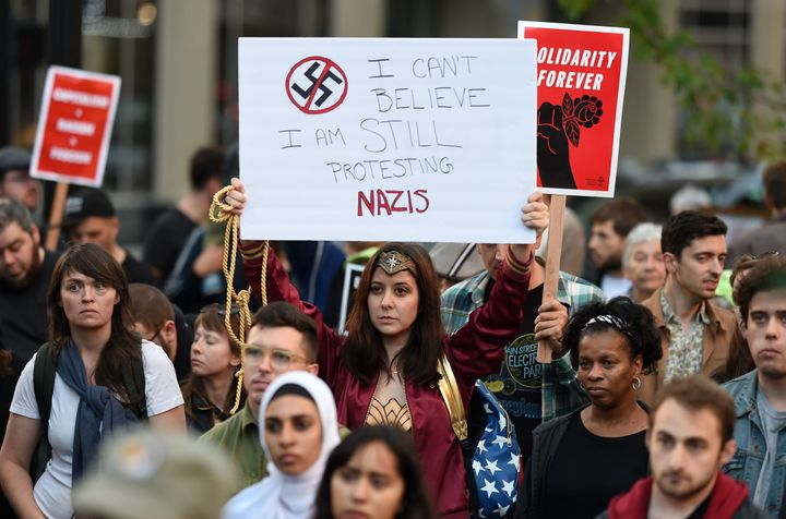 Anti-racist protesters marched on the streets of Oakland, California, on Aug. 12, 2017 in response to a series of violent cla