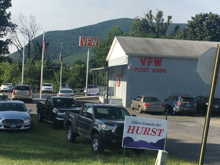 Hurst drew a crowd of nearly 100 voters for a meet-and-greet at VFW Post 6000 in Narrows, Virginia.