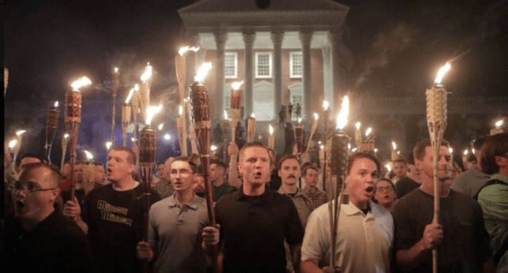 Neo-Nazis and white supremacists marching in Charlottesville.