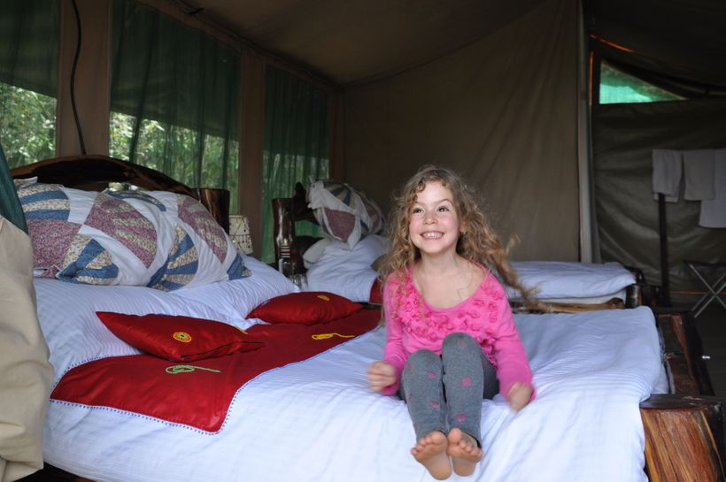 Excited about tent-life at Tangulia Mara Camp