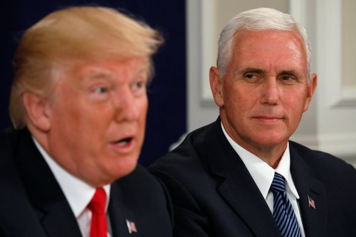 """Vice President <a href=""""https://www.huffpost.com/topic/mike-pence"""" role=""""link"""" data-ylk=""""subsec:paragraph;itc:0;cpos:__RAPID_INDEX__;pos:__RAPID_SUBINDEX__;elm:context_link"""">Mike Pence</a> condemned the violence in Charlottesville, Virgina, then slammed the media over its reaction to the president's tepid statement."""