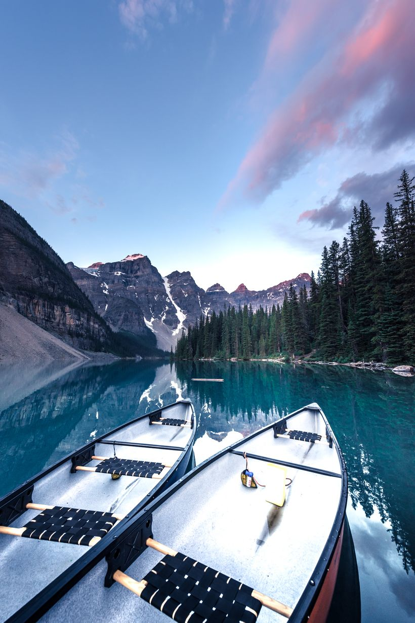 Sunrise at Moraine Lake. Yes, I know the canoes are backwards but I still like it :)