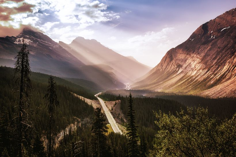 Beautiful morning light pouring into the Valley below the 'Big Hill' on the Icefields Parkway.
