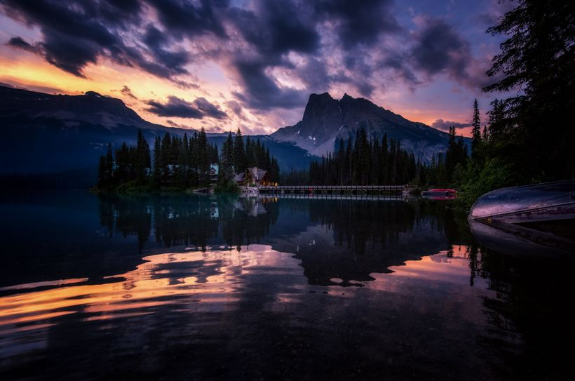 A stormy morning at Emerald Lake in Yoho National Park.