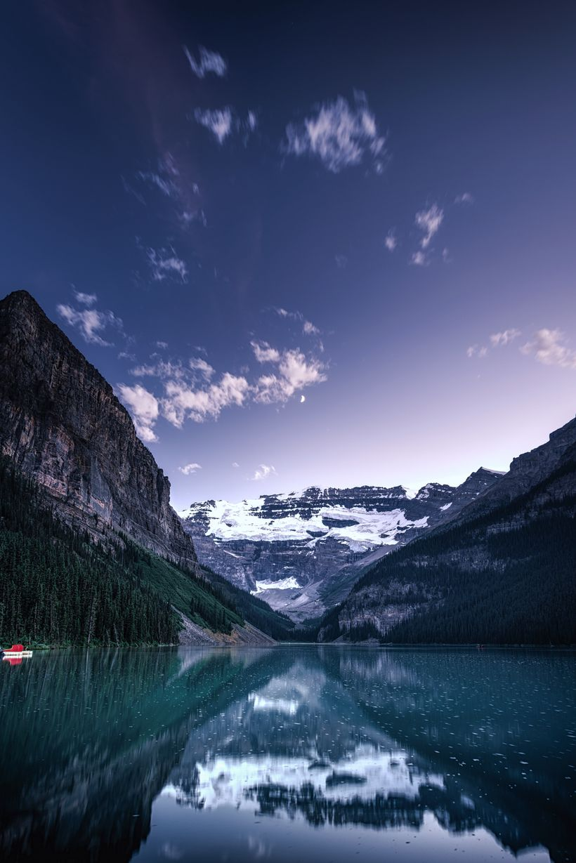 Blue Hour at Lake Louise. It's also quiet late in the Summer evenings, so if you're not a morning person and still want to mi
