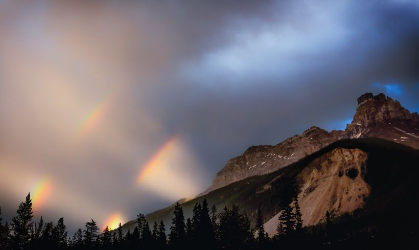 A double rainbow over Cathedral Peak during a big storm in Yoho National Park.  Photo taken from my campsite at Monarch.