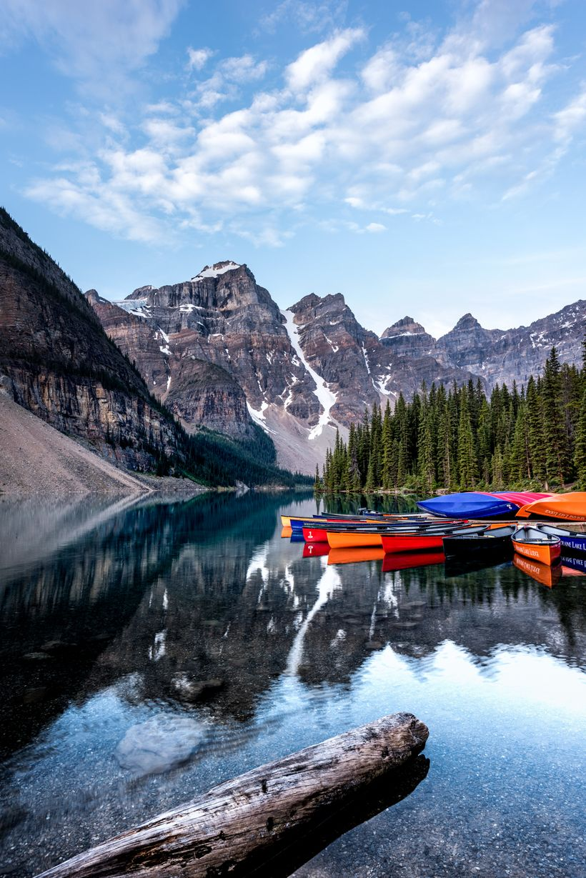 Moraine Lake Canoes, taken lakeside.