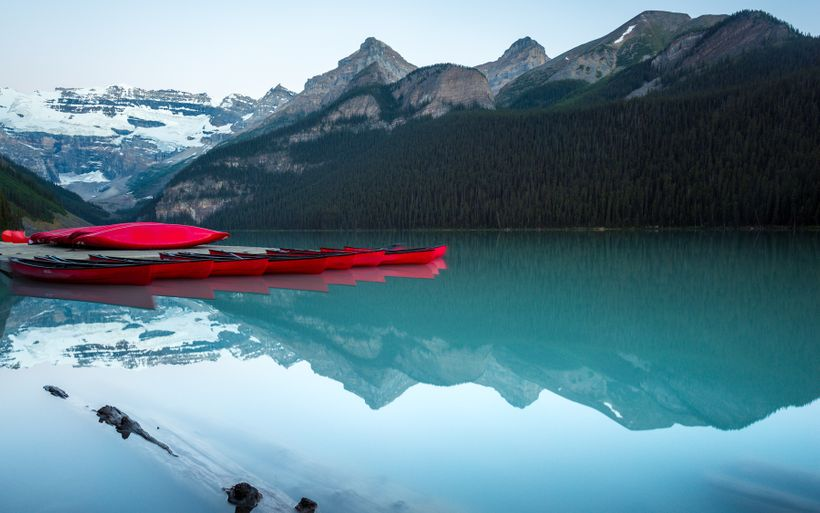 The infamous red canoes on Lake Louise.