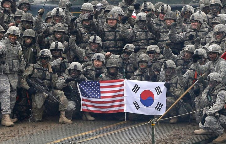 U.S. and South Korean Militaries pose during a joint military exercise, 2015