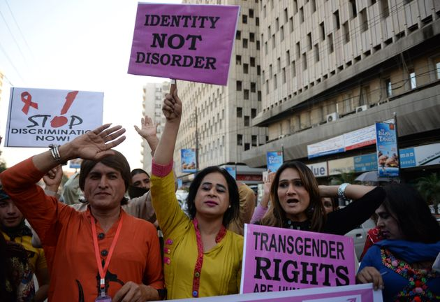 Transgender women in Pakistan attend a protest on World AIDS Day in Karachi in