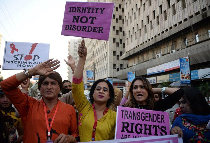 Transgender women in Pakistan attend a protest on World AIDS Day in Karachi in 2013.