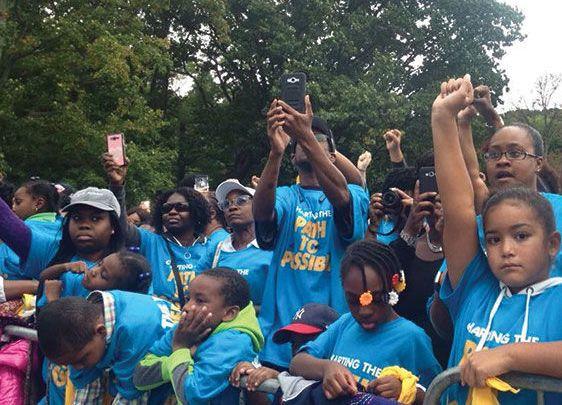 <p>No school today. Eva parades Black children to promote her charter school network.</p>