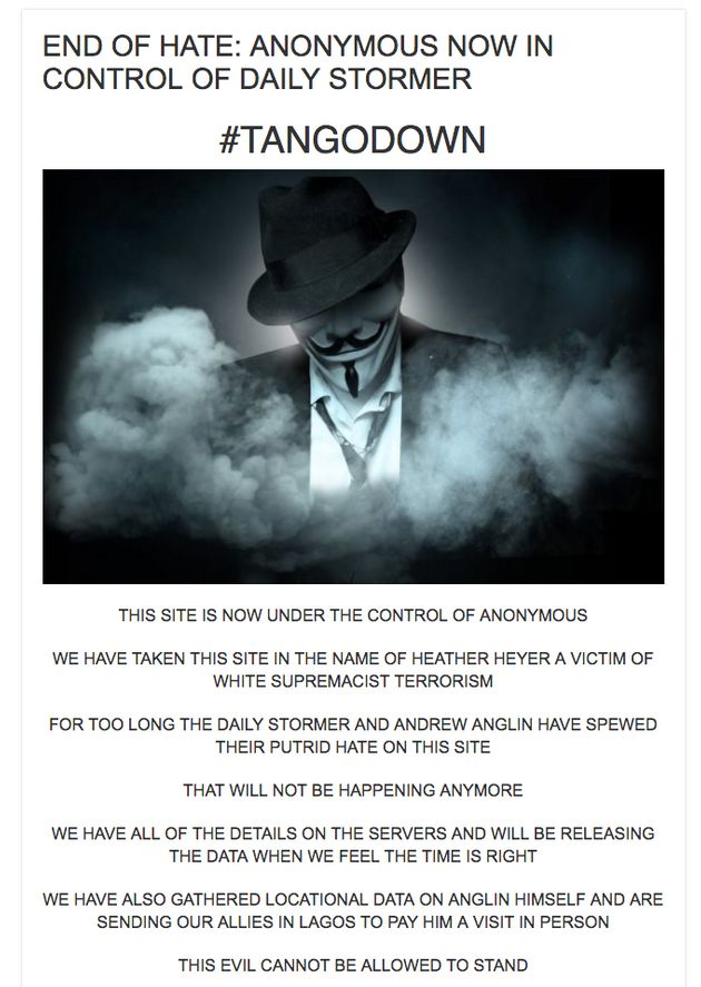 A message appeared on the Daily Stormer site claiming it had been hacked by