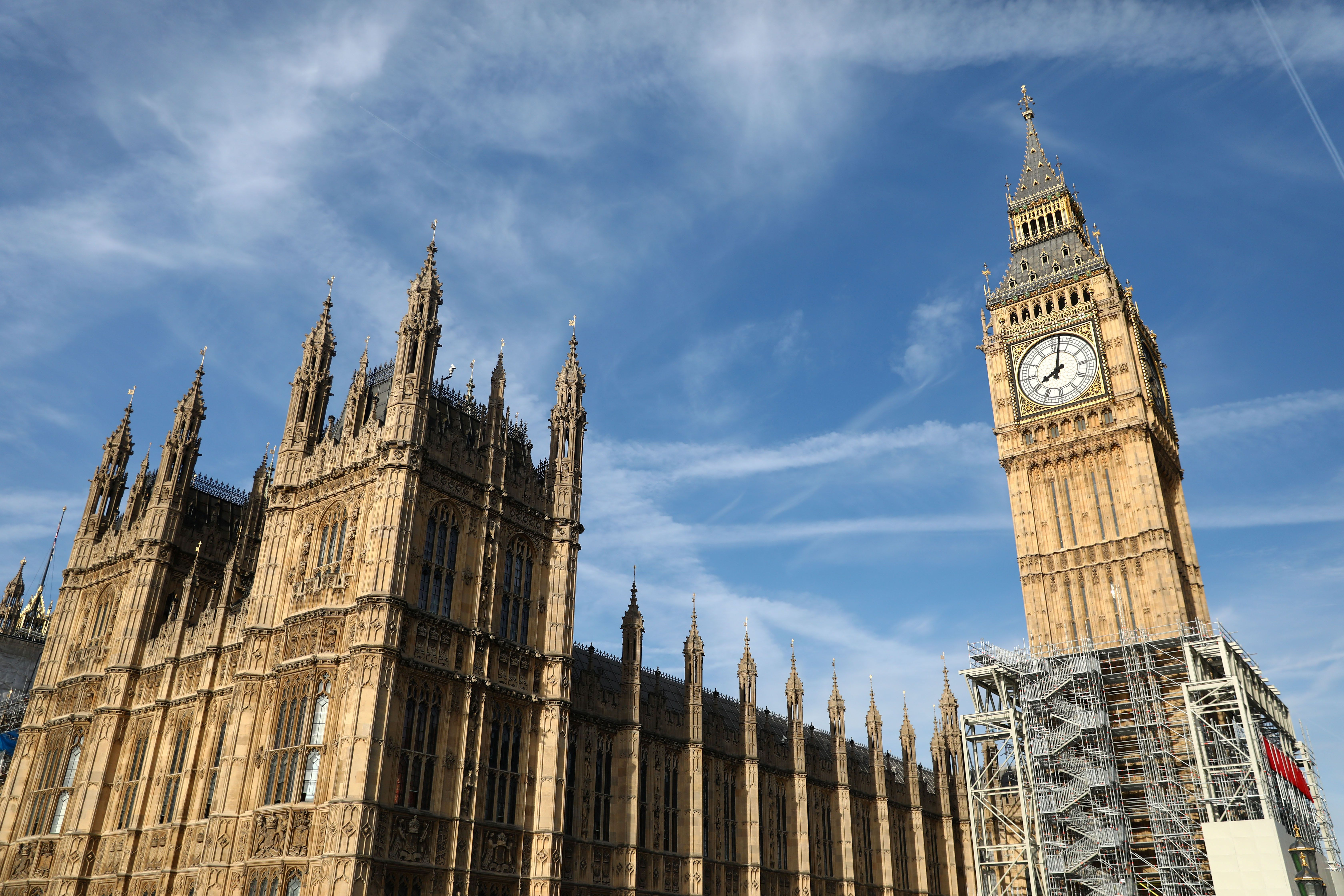 The Elizabeth Tower, which houses the Great Clock and the 'Big Ben' bell, is seen above the Houses of Parliament, in central