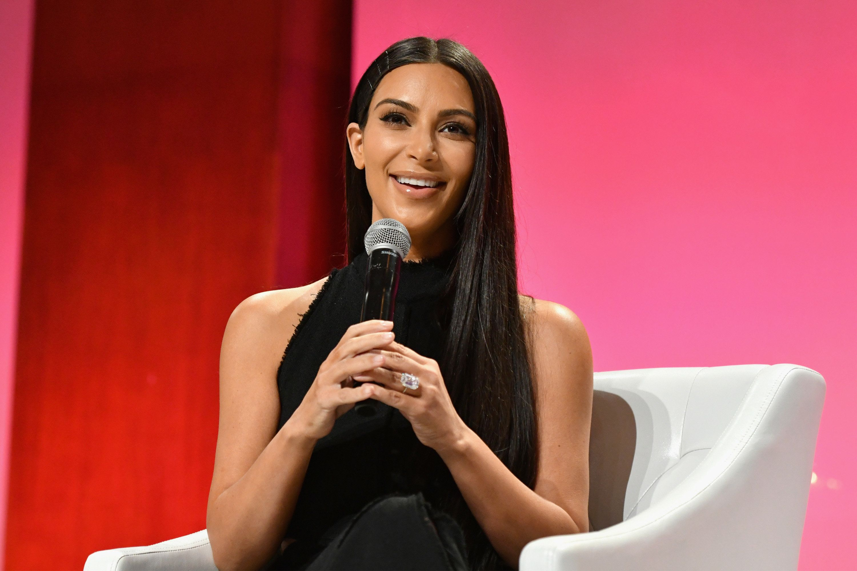 NEW YORK, NY - SEPTEMBER 27: (EXCLUSIVE ACCESS, SPECIAL RATES APPLY)  Kim Kardashian-West speaks at The Girls' Lounge dinner, giving visibility to women at Advertising Week 2016, at Pier 60 on September 27, 2016 in New York City.  (Photo by Slaven Vlasic/Getty Images for The Girls' Lounge)