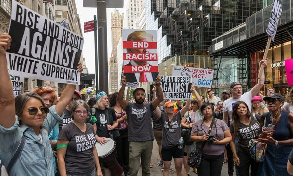 Ahead of President Donald Trump's visit, about 400 demonstrators on Fifth Avenue near Trump Tower in New York attend a r
