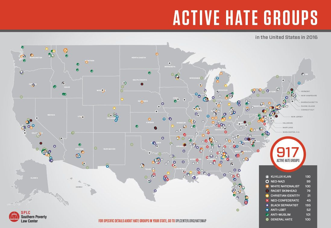 Active hate groups in America under Trump at 900