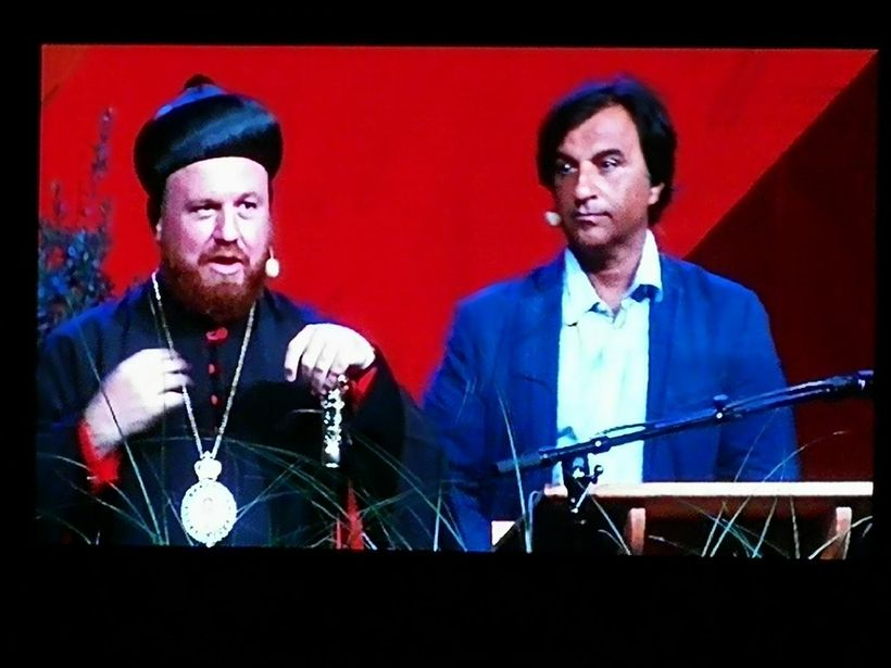 The Archbishop of Mosul and I from one of the speeches he gave while in Sweden