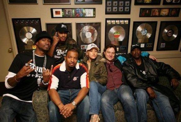 <strong><em>Dave Banta (2nd from right) in Bone Thugs-n-Harmony session at Hollywood's Sunset Sound  </em></strong>