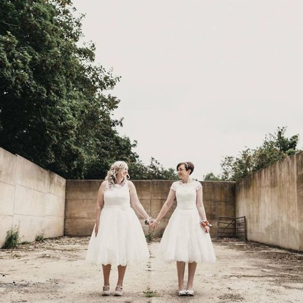 """My best pals, two gorgeous souls and the happiest day ever. I got to photograph Helen and Emma having their 'we do' moment y"