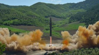 The intercontinental ballistic missile Hwasong-14 is seen during its test launch in this undated photo released by North Korea's Korean Central News Agency (KCNA) in Pyongyang, July, 4 2017. KCNA/via REUTERS ATTENTION EDITORS - THIS IMAGE WAS PROVIDED BY A THIRD PARTY. REUTERS IS UNABLE TO INDEPENDENTLY VERIFY THIS IMAGE. NO THIRD PARTY SALES. SOUTH KOREA OUT.