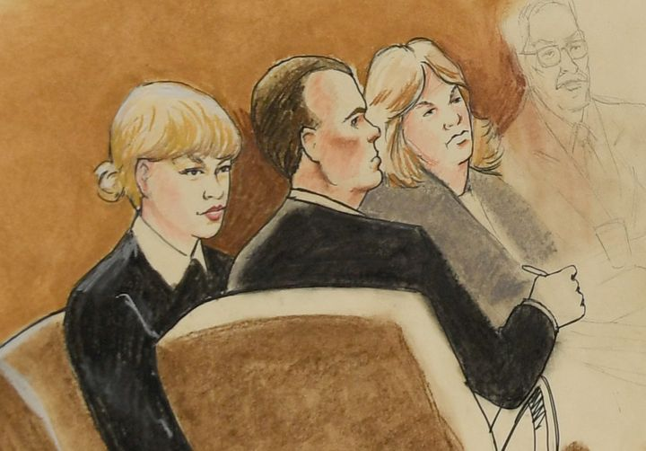 A courtroom sketch by artist Jeff Kandyba of Taylor Swift in court.