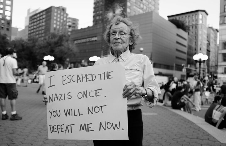 Marianne Rubin's granddaughter, Lena Schnall, captured a photo of her grandmother at Sunday's rally.