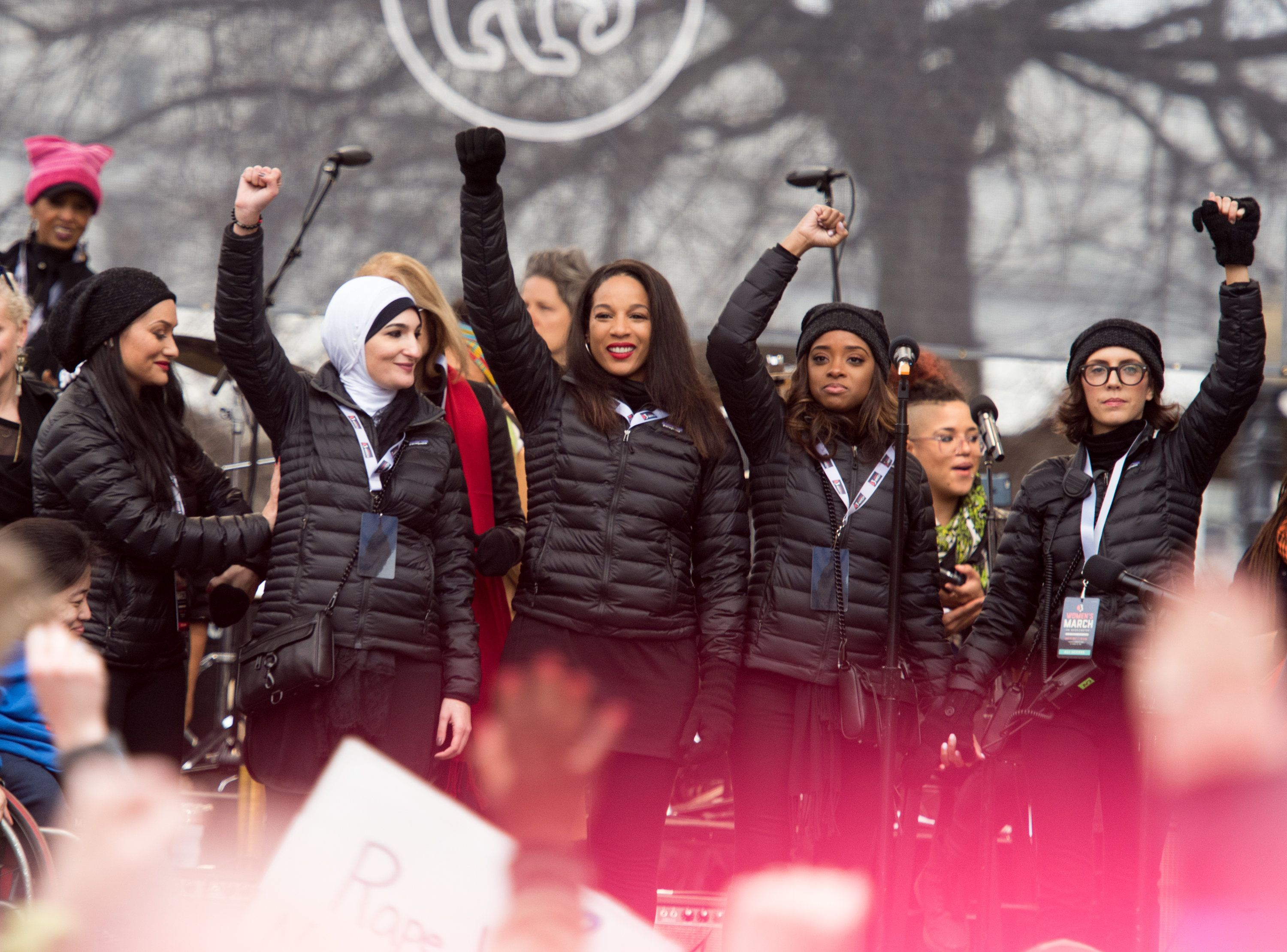 Women's March national co-chairs Carmen Perez, Linda Sarsour and Tamika D. Mallory attend the Women's March on Washington on