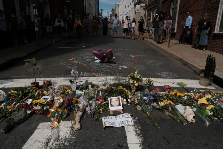 A makeshift memorial to Heather Heyer in Charlottesville, Virginia, on Aug. 13, 2017. Heyer was killed when a vehicle alleged