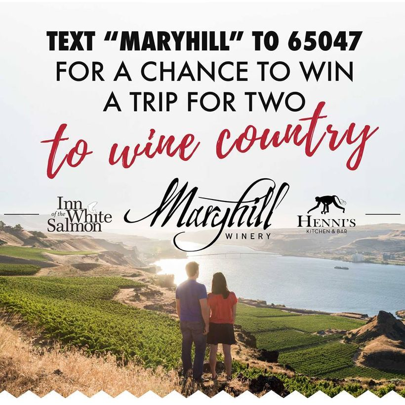 Maryhill used Text to Win to promote its winery.