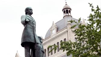 LEXINGTON, KY - AUGUST 14: A monument to John C. Breckinridge, the 14th Vice President of the US and a civil war era slave owner, stands near the old Historic Lexington Courthouse August 14, 2017 in Lexington, Kentucky. The Mayor of Lexington, Jim Gray, announced he has vowed to remove the statue, along with a statue of John Hunt Morgan which also stands at the courthouse, following the recent events in Charlottesviille, Virginia. Gray tweeted, 'We cannot let them define our future.' (Photo by Bill Pugliano/Getty Images)