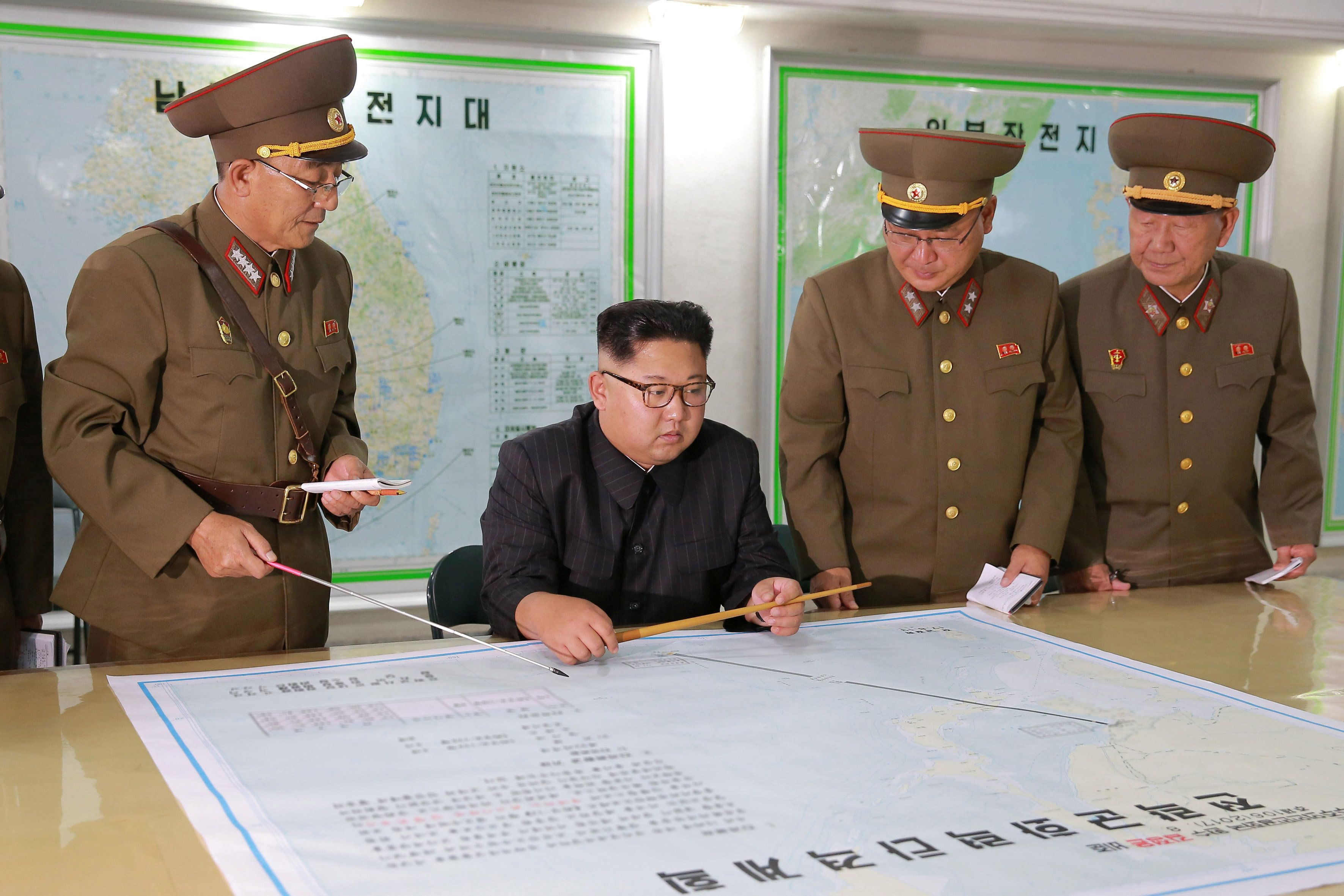 North Korean leader Kim Jong Un visits the Command of the Strategic Force of the Korean People's Army (KPA) in an unknown location in North Korea in this undated photo released by North Korea's Korean Central News Agency (KCNA) on August 15, 2017.   KCNA/via REUTERS   ATTENTION EDITORS - THIS PICTURE WAS PROVIDED BY A THIRD PARTY. NO THIRD PARTY SALES.  SOUTH KOREA OUT. NO COMMERCIAL OR EDITORIAL SALES IN SOUTH KOREA. PICTURE BLURRED AT SOURCE.  TPX IMAGES OF THE DAY