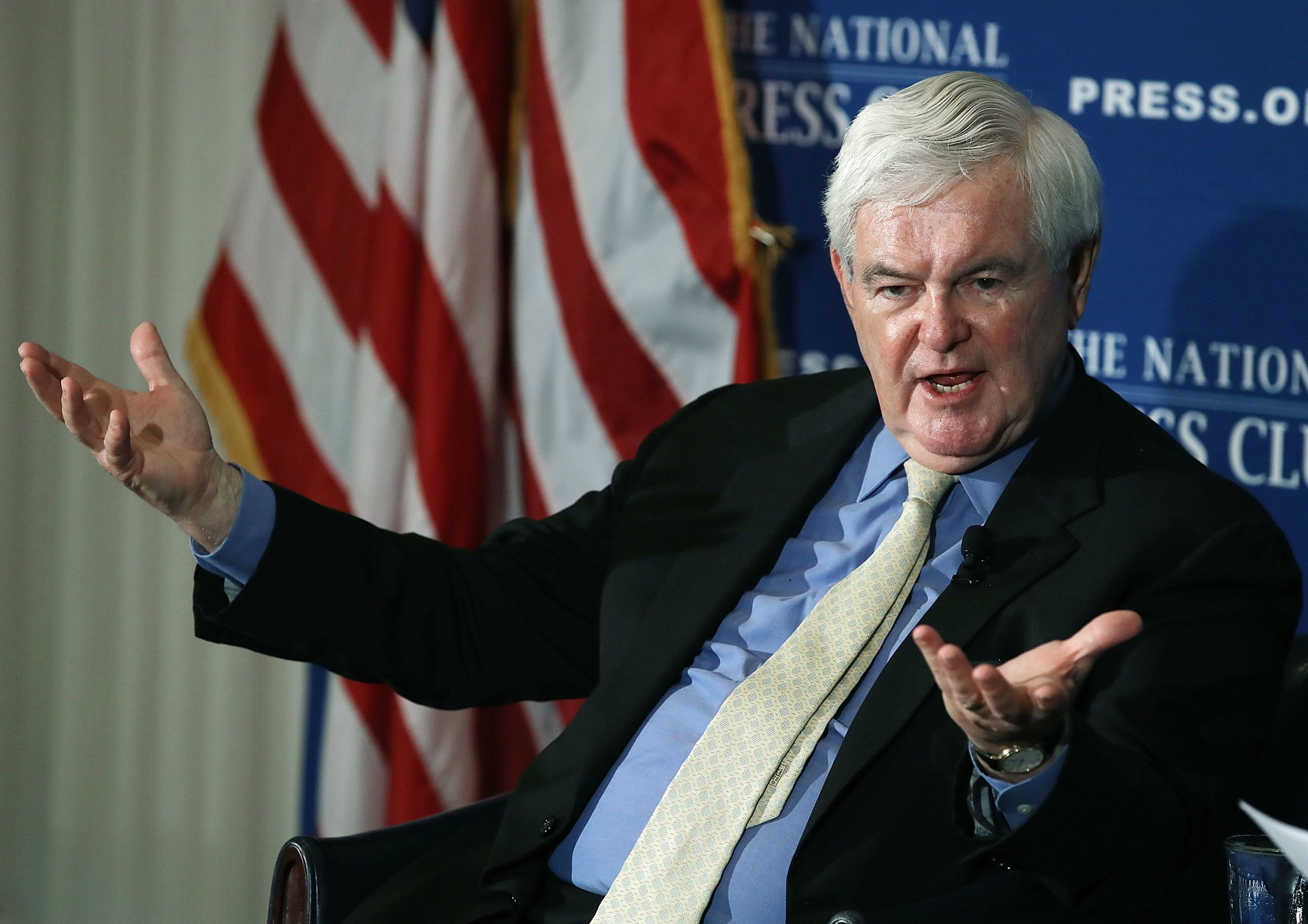 WASHINGTON, DC - JUNE 16:  Former House Speaker Newt Gingrich (R-GA), speaks about his book 'Understanding Trump' during a book discussion at the National Press Club, on June 16, 2017 in Washington, DC. Gingrich was an early endorser of candidate Trump during the presidential campaign. (Photo by Mark Wilson/Getty Images)