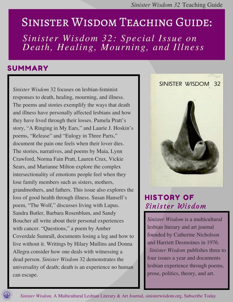 Cover of the Sinister Wisdom 32 Teaching Guide