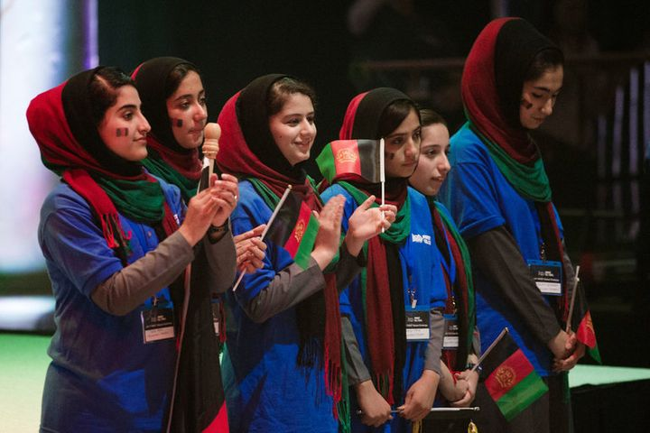 Afghan team of six girls wins the limelight at the inaugural FIRST Global robotics competition in D.C.[Image: Cliff Owen&#x2