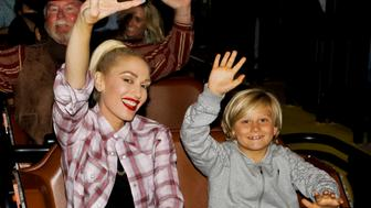BUENA PARK, CA - JUNE 11:  Gwen Stefani and her son Zuma Rossdale ride the GhostRider roller coaster at Knott's Berry Farm on June 11, 2016 in Buena Park, California.  (Photo by Tibrina Hobson/Getty Images)