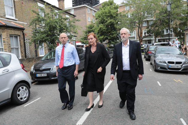 Labour leader Jeremy Corbyn visits the scene of the Grenfell Tower fire with Labour MP for Kensington,...