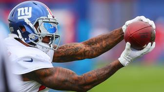 EAST RUTHERFORD, NJ - JULY 29:  New York Giants wide receiver Odell Beckham (13) during 2017 New York Giants training camp on July 29, 2017, at Quest Diagnostics Center in East Rutherford, NJ.  (Photo by Rich Graessle/Icon Sportswire via Getty Images)