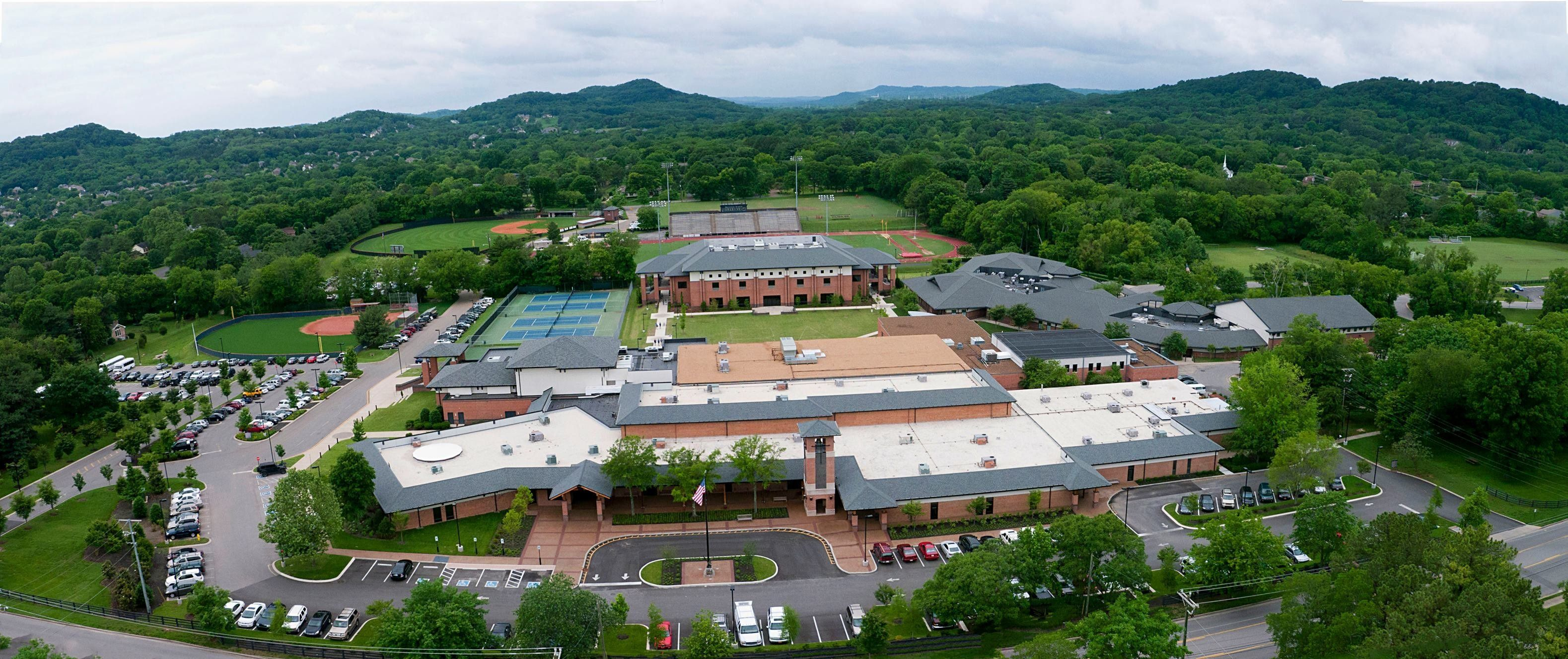 An aerial view of Christian private school Brentwood Academy.