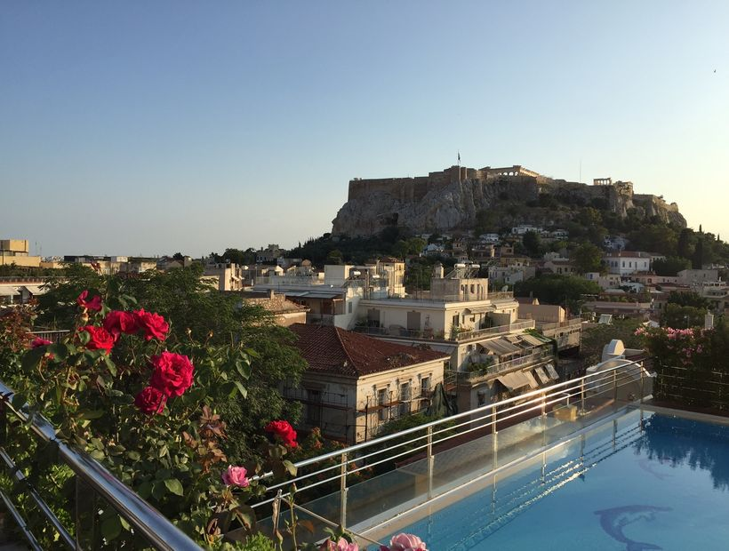 The rooftop pool view of the Acropolis is a highlight of the Electra Palace Hotel.