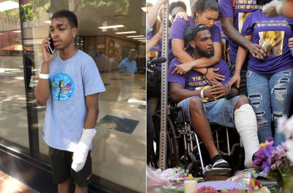 Deandre Harris (l) and Marcus Martin both sustained brutal injuries at Saturday's rally.